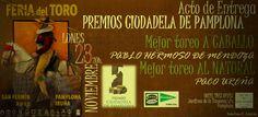 Hoy se entregan los Premios Ciudadela de Pamplona 2015 Hoy lunes, 23 de noviembre, en el Hotel Tres Reyes tendrá lugar la entrega de los Premios Ciudadela de Pamplona correspondientes a la Feria del Toro 2015. Los galardonados en esta séptima edición son: el rejoneador Pablo Hermoso de Mendoza y el matador de toros Paco Ureña