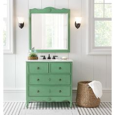 Home Decorators Collection Keys 36 In. W Vanity In Distressed Aquamarine  With Marble Vanity Top In Cream With White Basin