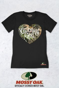 Women's Country Girl® Mossy Oak Obsession Original Heart Tee | Our women's fit crew neck short sleeve tee is made with super-soft ring spun jersey fabric. This classic top has a semi-contoured silhouette for a fashion look. This garment is preshrunk for minimal shrinkage.  • 100% cotton  • Semi-contoured fit yet relaxed enough to be flattering for most body types