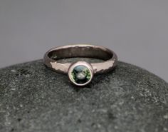 Sarah Rose- Green Sapphire and 14k white gold