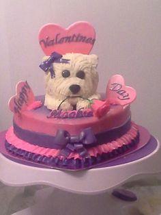 Puppy dog valentines day cake