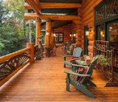 Log cabin Home Porch :) More log cabin homes at quick-garden.co.uk/residential-log-cabins.html #LogHomes