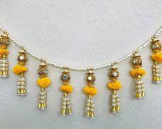 ArtisansAvenueUS on Etsy Diwali Diy, Diwali Craft, Diy Home Crafts, Creative Crafts, Diy Diwali Decorations, Hanging Decorations, Pendant Set, Diamond Pendant, Door Beads