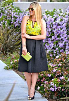 The perfect black midi skirt! (Black Midi from H&M, Neon top from BB Dakota, Green Clutch from @LuLu*s)