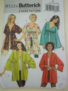 Butterick 2 Hour Sewing Pattern - Women's Boho Kimono Jacket, Raglan Sleeve Jacket, Plus Size Pattern Plus Size Sewing Patterns, Vintage Sewing Patterns, Clothing Patterns, Butterick Sewing Patterns, Shirt Patterns, Paper Patterns, Pattern Sewing, Dress Patterns, Sewing Clothes