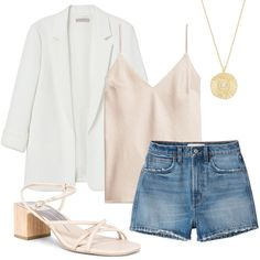 Daily Style Finds: White Blazer, Camisole + Denim Shorts White Blazer Outfits, Stylish Outfits, Fashion Outfits, Sleeveless Blazer, White Denim Shorts, Popular Dresses, Maxi Wrap Dress, Everyday Outfits, Daily Fashion