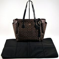 Coach Brown and Black Diaper Bag