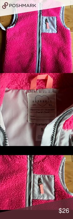 Carter's Winter Vest Pretty pink winter vest with zipper accents.  Warm and fuzzy and ready for winter! Carter's Jackets & Coats Vests