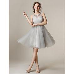 A-line/Princess Jewel Knee-length Tulle Bridesmaid Dress (2174339) - MXN $ 1,352.63
