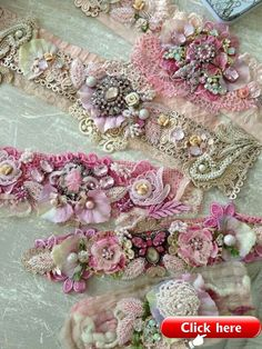SHABBY CHIC LOOK! Elegant lace jewelry in pink colours maybe use on crazy quilts? Fabric Bracelets, Lace Bracelet, Lace Necklace, Lace Jewelry, Textile Jewelry, Fabric Jewelry, Jewelry Crafts, Cuff Bracelets, Handmade Jewelry