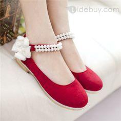 韓国風魅惑的な王女赤いフラットシューズ