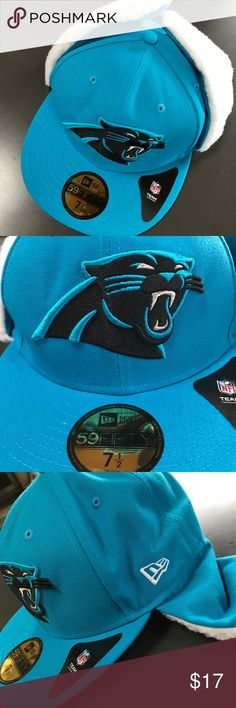 Carolina Panthers Flurry Fit Dog Ear Fitted Hat Brand New Officially Licensed with tags. This Carolina Panthers Flurry Fit Dog Ear Fitted Hat by New Era features a flat bill, dog ears, the Panthers colors, and quality embroidered graphics. The front has the logo, with the New Era logo on the side and NFL shield on the back. It's made of comfortable yet durable material, and is a fitted hat. (6 7/8)889674622967  (7 1/2) 889674622981 New Era Accessories Hats
