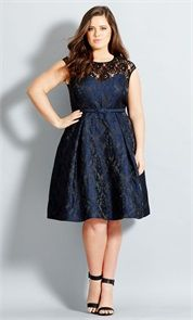 Plus Size Ornate Brocade Fit & Flare Plus Size Dress