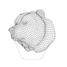 Bear head illusion lamp plan vector file for CNC - 3d Illusion Art, Lampe Decoration, Bear Head, Jungle Animals, 3d Paper, Led Night Light, Vector File, Plexus Products, Laser Engraving