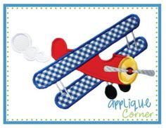 Airplane Prop Plane applique digital design for embroidery machine by