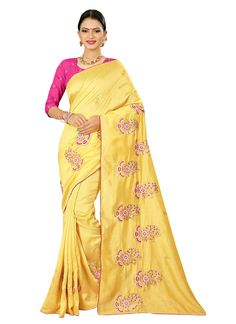 Silk Embroidered Yellow Classic Designer Saree
