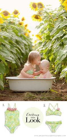 sister photography in sunflower fields | vintage bathtub