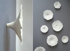 Grace White flower-wall-art | This is kind of like the inspiration that I'm using for my bowl in my dishware set. I love the shape of these flowers. It's unique how they aren't round at the bottom. Rather, they get skinnier and skinnier.
