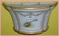 French Faience Wall Vase Bouquetiere Planter by AtticBasement, $475.00