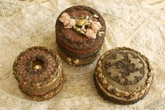 French Laundry: The Scoop on Antique Ribbon Work Powder Boxes Ribbon Embroidery Tutorial, Fabric Embellishment, Silk Ribbon Embroidery, Ribbon Art, Ribbon Flower, Ribbon Crafts, Shabby Chic, Passementerie, Altered Boxes