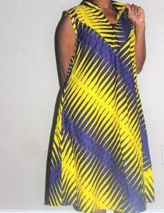 A-Line Ankara Dress, Ankara Cotton Dress, Ladies' Summer Dress,African Wax . by laviye African Shirt Dress, Short African Dresses, Latest African Fashion Dresses, African Print Fashion, Ankara Gown Styles, Ankara Dress, African Attire, African Wear, Chitenge Dresses