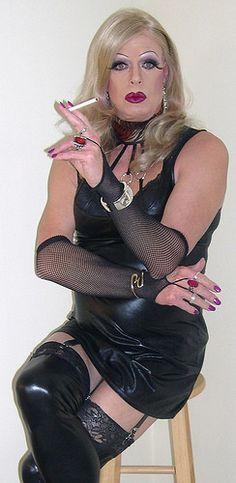 Fetish drag queen smoking