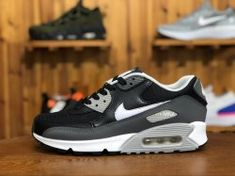 quality design e7818 48e75 Unisex Nike Air Max 90 Essential Black White Dark Grey Wolf Grey 537384-032  Men s Women s Running Shoes 537384-032