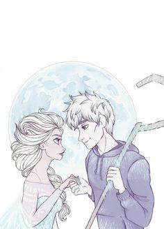 Queen Elsa and Jack Frost by DiamondBeautyInk.deviantart.com on @deviantART