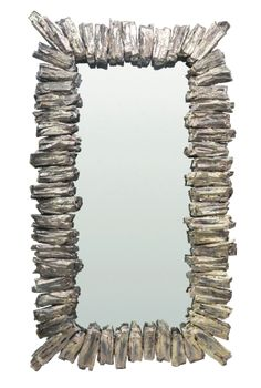 Lassen Mirror - Cast Resin Frame w/Faux Wood Detail