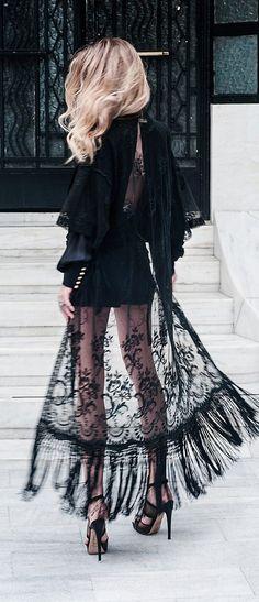 Glamorous Black Lace Kimono Fashion 2015