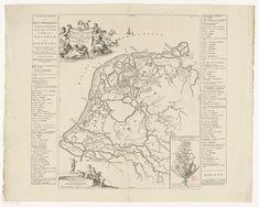 Historische kaart van Nederland met de gebieden van de Bataven en Friezen, 1718 Atlas Ottens Holland Map, Vintage World Maps