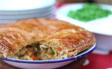 A really easy chicken pie that is packed full of chicken and vegetables, made with puff pastry. This dish will cost under $10.  Find more on Kidspot New Zealand's recipe finder
