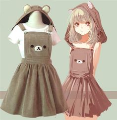 Cute cartoon bear hooded braces skirt SE5645