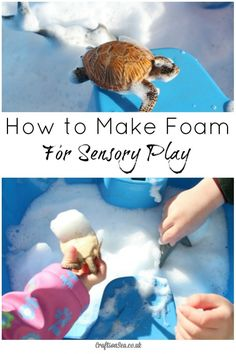 How to make foam for toddlers without using shaving foam. This is such a great idea for sensory or messy play and can be made in a minute!