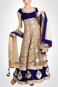 Manish Chotrani - exceptionally gorgeous gold anarkali surfaced on lustrous backdrop. Indian Attire, Indian Wear, Asian Fashion, Girl Fashion, Desi Clothes, Indian Clothes, Anarkali Dress, White Anarkali, Indian Couture