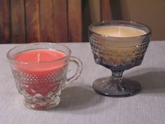Recycle old candle remnants  Supplies:    Cute container.Old candle pieces  Tapered candles  Microwave safe container  Knife  Stir stick  Skewer    These are great for making your money stretch or as gifts. First cut the top part of the tapered candle a half inch smaller than the height of the container (the wick should still be taller than the cont...