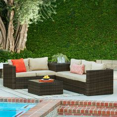 Found it at AllModern - Armbruster 4 Piece Sectional Seating Group with Cushions