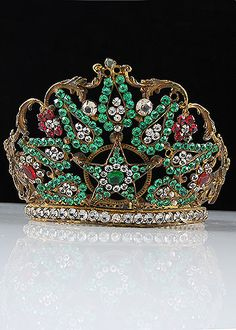 French Antique Brass Repousse Jeweled Tiara
