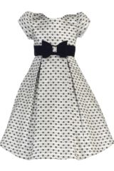 Sweet, shimmering jacquard bows pattern a girly silver dress styled with a cap sleeve bodice, a velvet bow at...