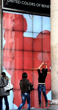 Benetton Interactive Window Dances Along With People As The Walk By