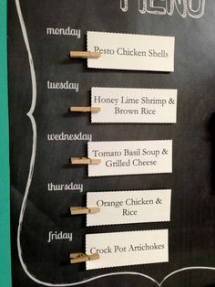 Faux Chalkboard Menu {meal planning}