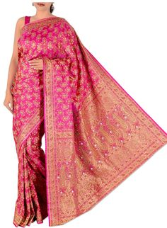 Home > Magenta Pure Silk Bridal Banarasi Saree picture