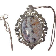 Vintage Scottish  Agate and Sterling Brooch/Pendant