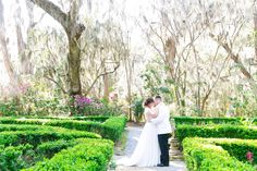 First Look in Flowerdale Garden at Magnolia Plantation | Romantic Garden Wedding at Magnolia Plantation | Dana Cubbage Weddings | Charleston SC Wedding Photography