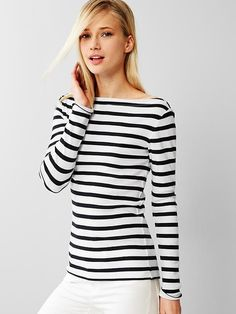 Modern stripe boatneck tee - Extra soft and comfy cotton-modal blend that drapes perfectly; this slimming modern tee will be your new staple.