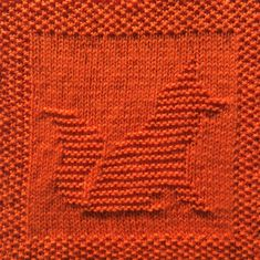 Free knitting pattern for fox dishcloth, washcloth, afghan square. Includes written pattern and chart. Other free squares to combine and make an afghan Knitted Squares Pattern, Knitted Washcloth Patterns, Knitting Squares, Knitted Washcloths, Dishcloth Knitting Patterns, Loom Knitting Projects, Knit Dishcloth, Knitting Charts, Free Knitting