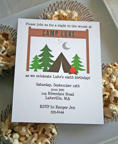 Camping Birthday Party Invitation  PRINTABLE by greenapplepaperie