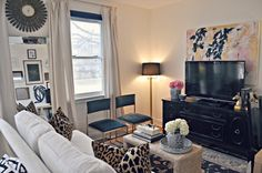 Small but stylish living room (love the TV credenza and art)