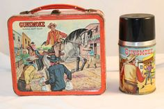 Gunsmoke Vintage Lunch Box & Thermos  (Marshal Matt Dillon Antique Lunchboxes, Western)