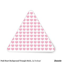 Pink Heart Background Triangle Sticker